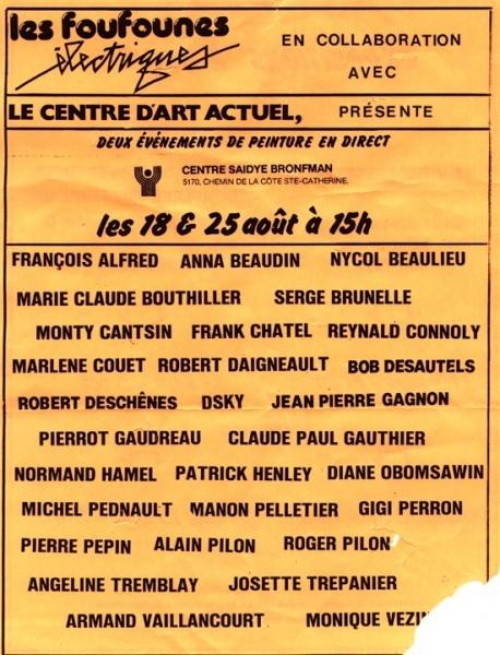 Les Foufounes électriques et le Centre d'art actuel - 1987